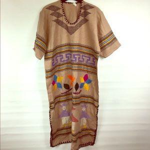 Fun boho vintage potato sack dress embroidered